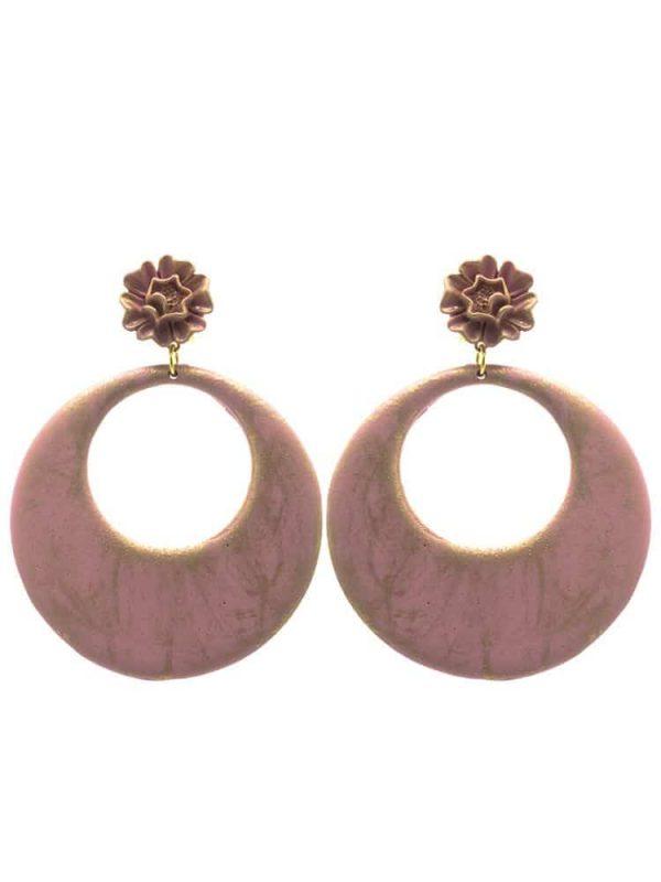 Pendiente de flamenca aro rosa palo con reflejos oro
