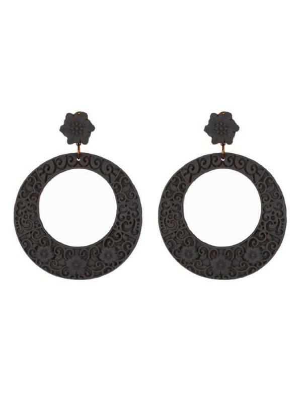 Pendiente de flamenca aro tallado de resina negro