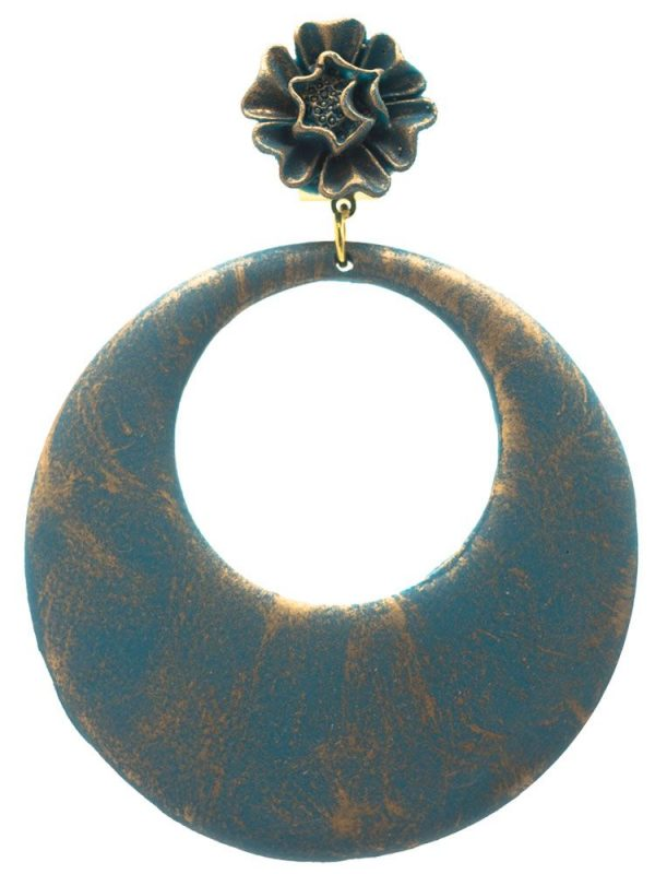 Flamenco earring green hoop bottle with gold highlights