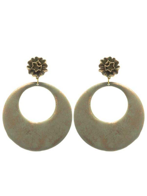Flamenco khaki green hoop earring with gold highlights