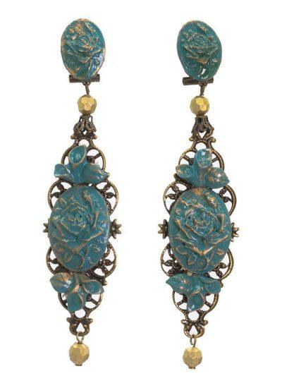 Pendiente de flamenca azul cyan con reflejos oro
