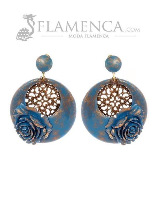 Pendiente de flamenca azul ducado con reflejos oro