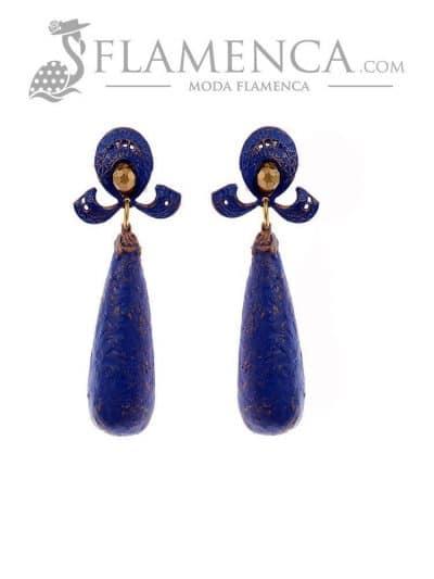 Pendiente de flamenca azulina con reflejos oro