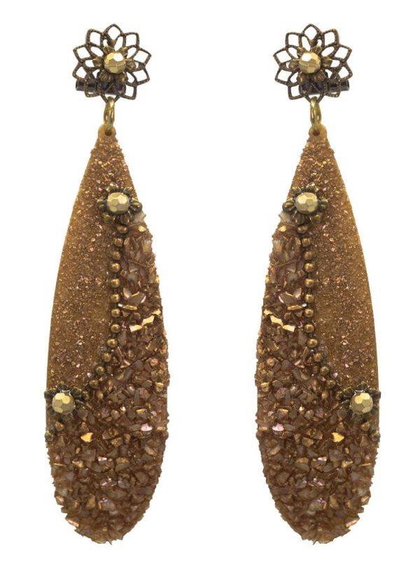 Flamenco earrings with pearl powder