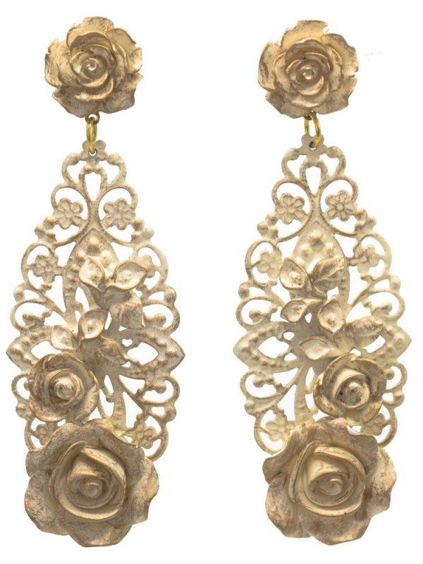 Pendiente de flamenca beige con reflejos oro