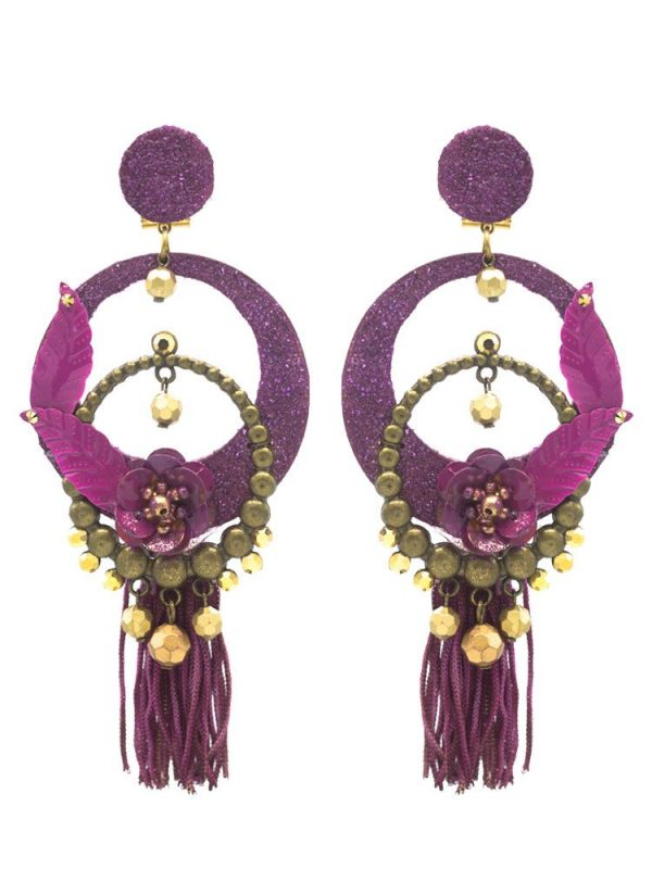Flamenco bougainvillea earring with golden highlights