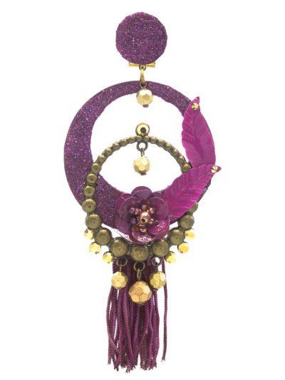 Pendiente de flamenca buganvilla con reflejos dorados