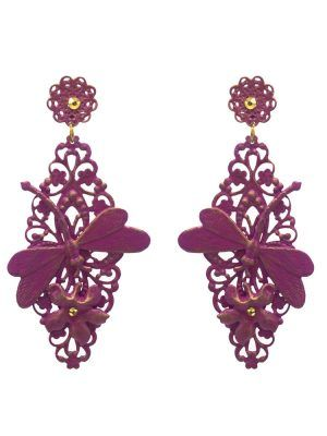 Flamenco bougainvillea earring with gold highlights
