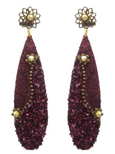 Flamenco earrings burgundy with mother of pearl powder