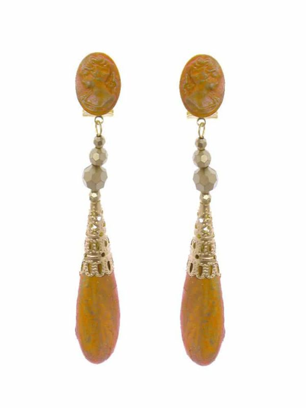 Flamenco earrings cameo mustard with gold highlights