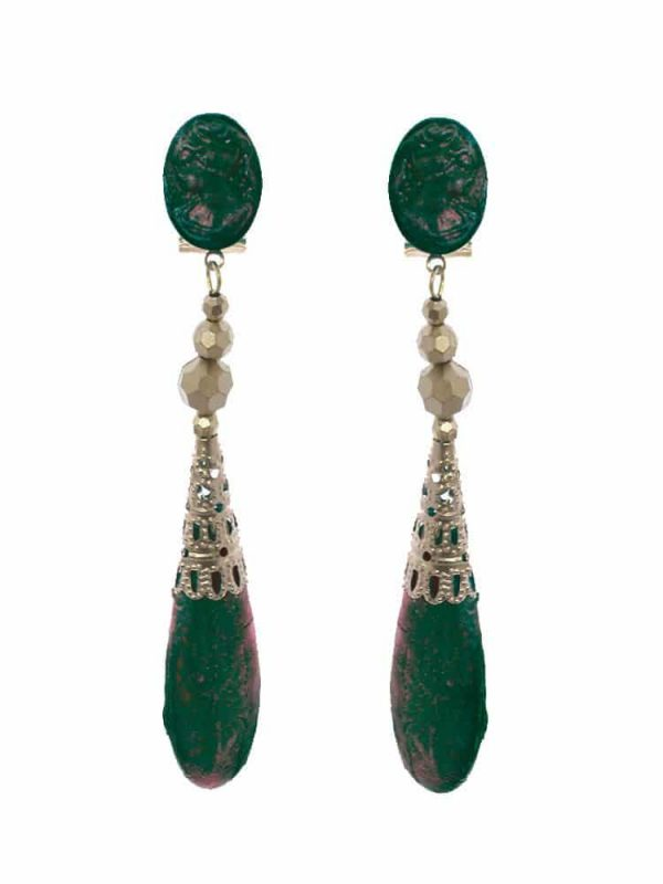 Flamenco earring cameo green bottle with gold highlights