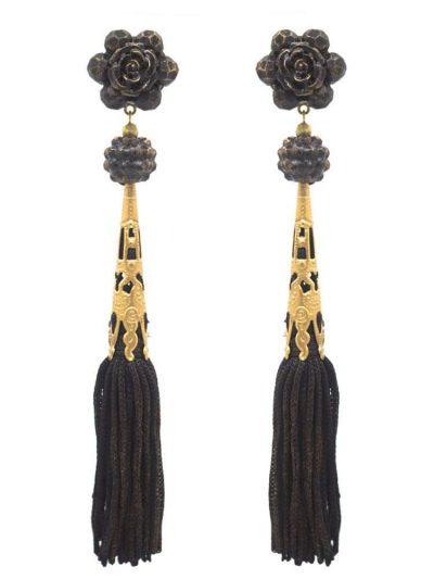 Pendiente de flamenca con flecos color negro y reflejos dorados
