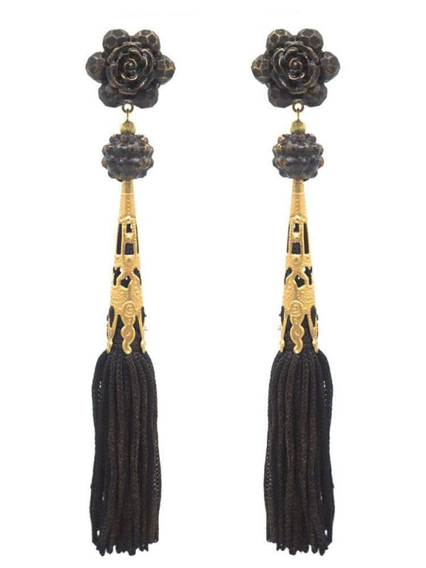 Flamenco earring with black fringes with golden highlights