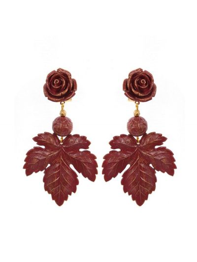 Flamenco flower and burgundy leaf earring with golden highlights