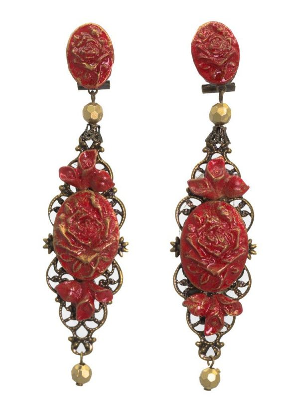 Flamenco coral earring with gold highlights