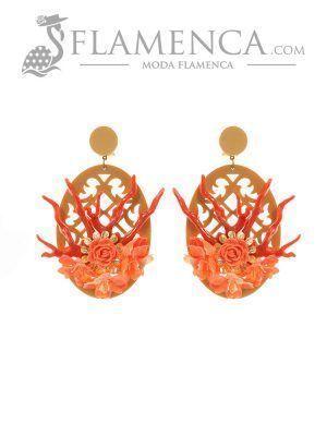 Pendiente de flamenca coral y oro