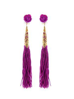 Pendiente de flamenca de flecos buganvilla