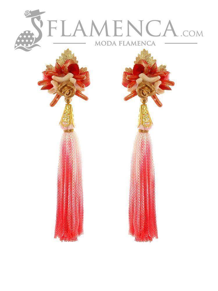 df98b1bbb1db Pendiente de flamenca de flecos coral