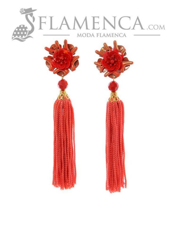 Pendiente de flamenca de flecos coral