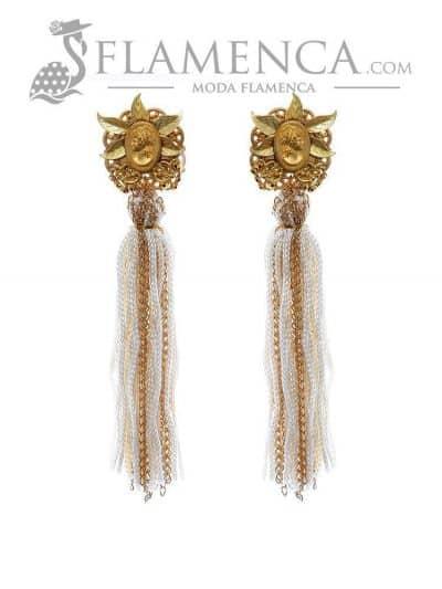 Pendiente de flamenca de flecos marfil y oro