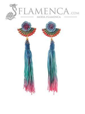 Pendiente de flamenca de flecos multicolor