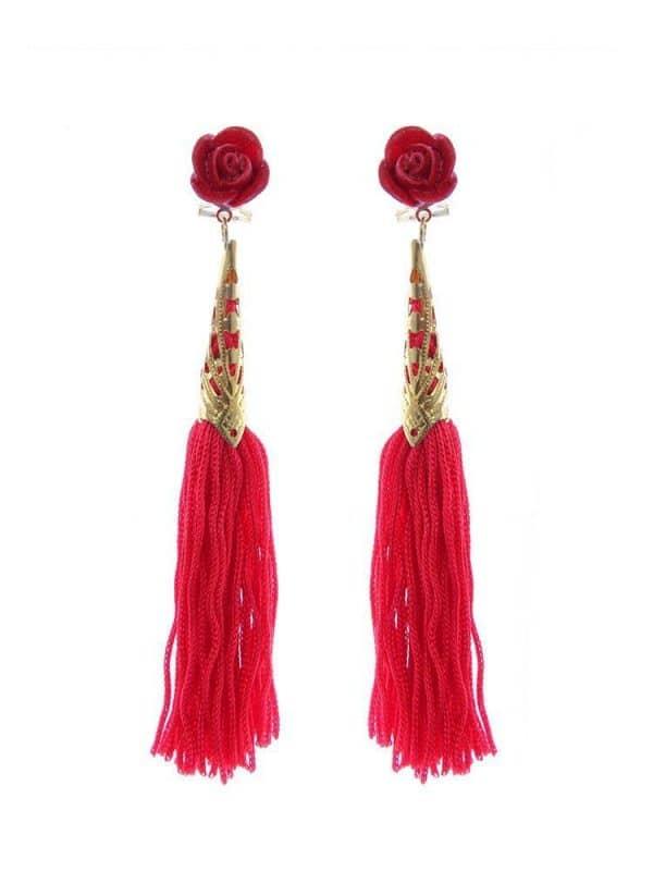 endiente de flamenca de flecos color rojo