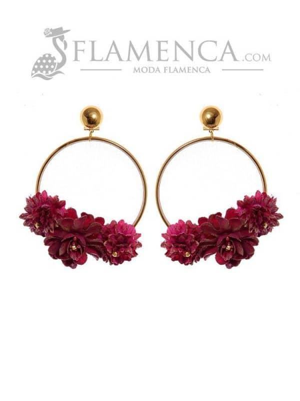 Pendiente de flamenca de flores buganvilla y reflejos oro