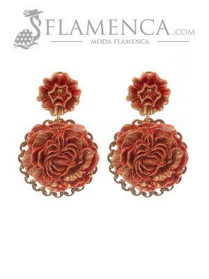 Pendiente de flamenca de flores coral