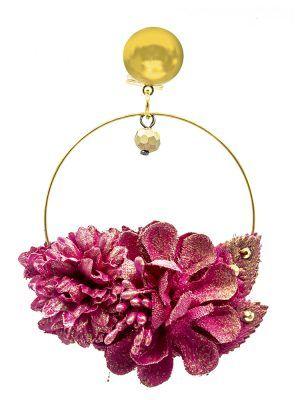 Pendiente de flamenca de flores fresa con reflejos oro