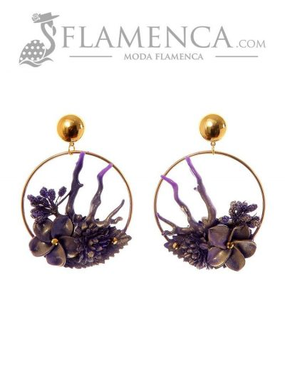 Purple flower flamenco earring with gold highlights