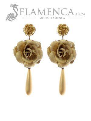 Pendiente de flamenca de flores oro
