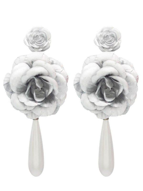 Pendiente de flamenca de flores plata