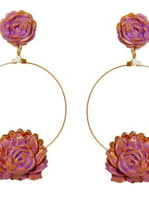 Pendiente de flamenca de porcelana color lila con reflejos dorados