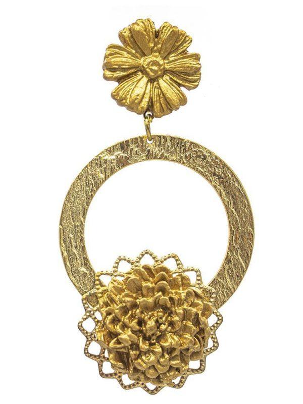Pendiente de flamenca de porcelana color oro