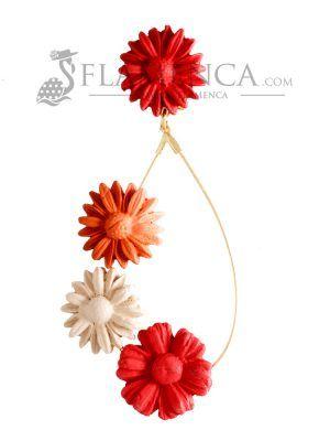 Pendiente de flamenca de porcelana en tonos corales degradé