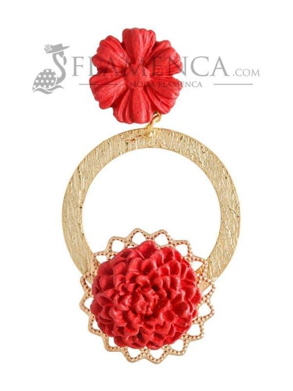 Pendiente de flamenca de porcelana rojo