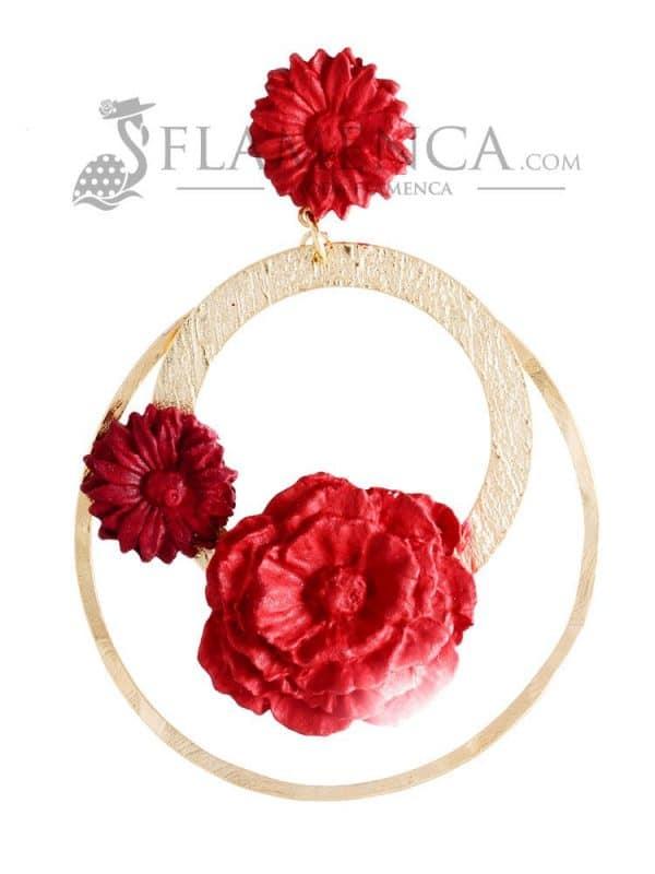 Pendiente de flamenca de porcelana rojo y burdeos