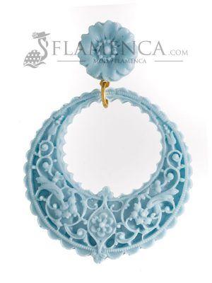 Pendiente de flamenca de resina azul celeste