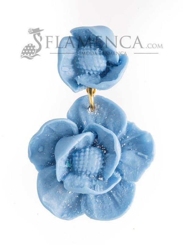 Pendiente de flamenca de resina azul ducado