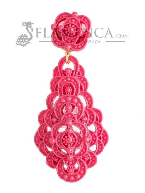 Pendiente de flamenca de resina rosa chicle