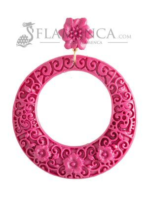 Cardinal resin flamenco earring