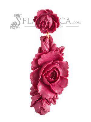 Pendiente de flamenca de resina cardenal