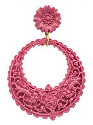Pendiente de flamenca de resina color frambuesa