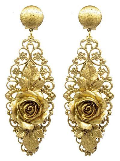 Pendiente de flamenca de resina color oro