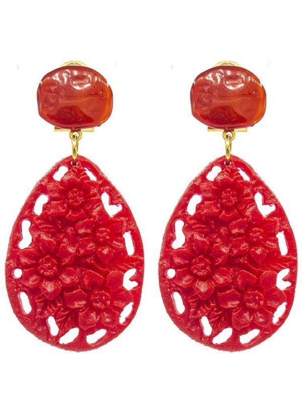 Pendiente de flamenca de resina color rojo