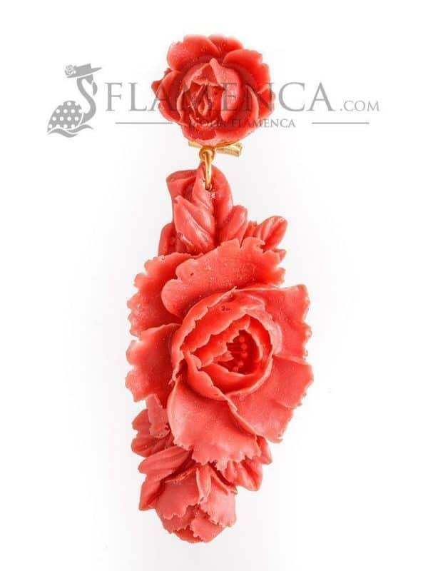 Pendiente de flamenca de resina coral