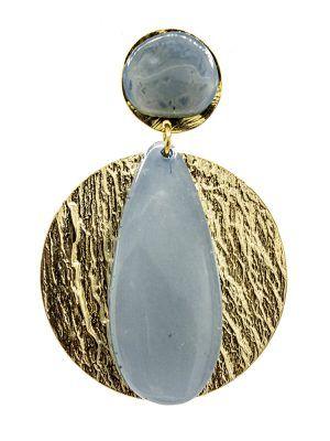 Pendiente de flamenca de resina cristal azul ducado