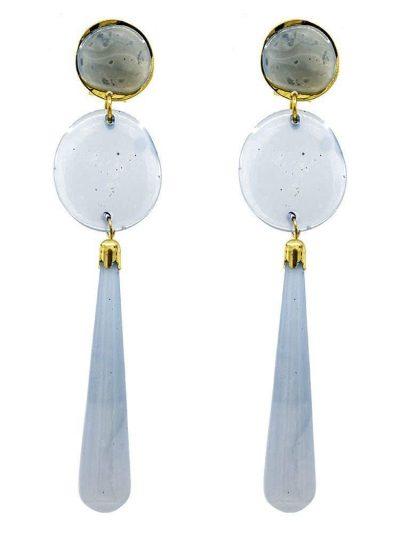 Pendiente de flamenca de resina cristal azul ducado degradé