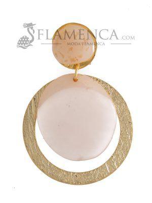 Pendiente de flamenca de resina cristal beige