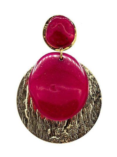 Pendiente de flamenca de resina cristal buganvilla